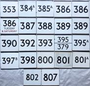 Quantity (22) of London Transport bus stop enamel E-PLATES, all from the northern Country Area and