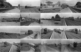 Quantity (c60) of 1940s/50s b&w STEAM RAILWAY NEGATIVES (120-size, 9cm x 6cm) taken by the railway