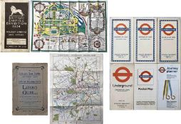 Selection (8) of Underground-related GUIDES & MAPS comprising c1908 British Tea Table LONDON GUIDE