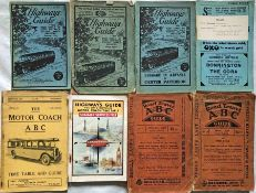 Selection (8) of 1920s/30s MOTOR-COACH GUIDES comprising Highways Guides (Time Tables of Long-