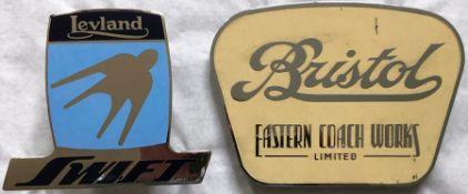 Pair of enamel & chrome BUS/COACH BADGES comprising a c1950s/60s badge 'Bristol, Eastern Coach Works