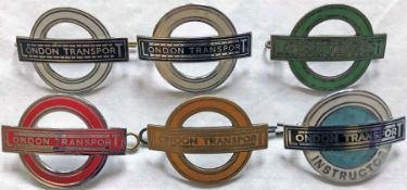 Selection (6) of London Transport CAP BADGES comprising 2 x Central Bus Driver/Conductor (one