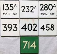 Selection (7) of London Transport bus and coach stop enamel E-PLATES for routes 135A Mon-Sat,