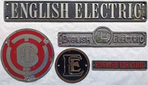 Selection (5) of vehicle/loco (probably railway) alloy MANUFACTURERS' PLATES comprising 4 x