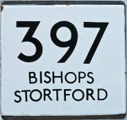 London Transport bus stop enamel E-PLATE for route 397 destinated Bishops Stortford. Most likely