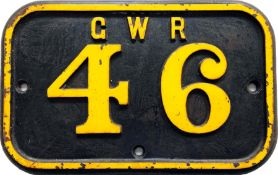 Great Western Railway cast-iron CABSIDE PLATE plate GWR 46 from 1909-built R-class 0-6-2T, ex