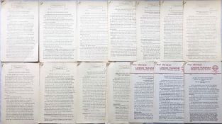 Complete set of London Transport PRESS RELEASES in respect of the 1959-62 Trolleybus Conversion