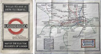 1922 London Underground MAP OF THE ELECTRIC RAILWAYS OF LONDON 'What to See & How to Travel' with
