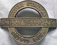 1930s London Transport ARMBAND PLATE 'Inter Station Auto Bus' as worn by conductors on the blue-