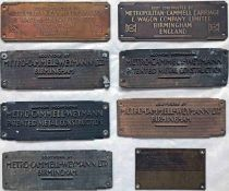 Selection (8) of 1930s onwards vehicle brass BODYPLATES from Metropolitan-Cammell Carriage & Wagon