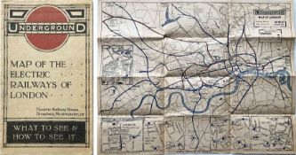 1914/5 London Underground pocket MAP OF THE ELECTRIC RAILWAYS OF LONDON 'What to See & How to See