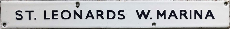 British Railways (Southern Region) enamel DEPARTURE INDICATOR PLATE 'St Leonards W. Marina',