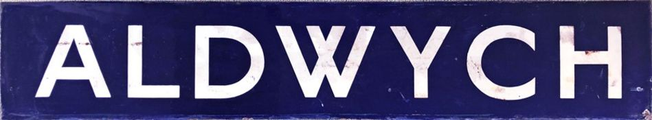1920s/30s London Underground enamel PLATFORM SIGN from Aldwych Station (formerly Strand) on the