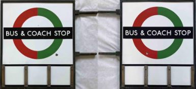 1940s/50s London Transport enamel BUS & COACH STOP FLAG (compulsory). An E3 type with runners for