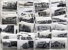 Large quantity (600+) of b&w, postcard-size PHOTOGRAPHS of London Trams, a few pre-WW2 noted, most