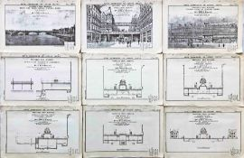 Set (9 items) of 1904 DRAWINGS for a Suspended Railway for London as part of a submission to the