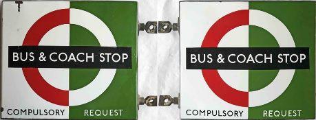 1950s/60s London Transport enamel BUS & COACH STOP FLAG (Bus Compulsory, Coach Request). A double-