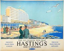 Late 1940s/early 1950s British Railways (Southern Region) quad-royal POSTER 'Hastings & St Leonards'