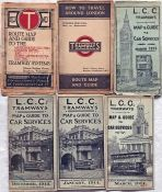 Selection (6) of early London tramways POCKET MAPS comprising Underground Group issues c1914 (very
