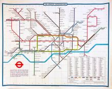 1976 (July) London Underground quad-royal POSTER MAP designed by Paul E Garbutt. Shows the Fleet