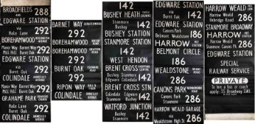 London Transport DESTINATION BLIND for an SMS (also fits RF) at Edgware (EW) garage dated 8.12.75