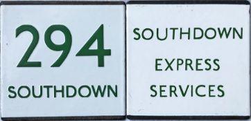 Pair of London Transport bus/coach stop enamel E-PLATES for Southdown route 294 and Southdown