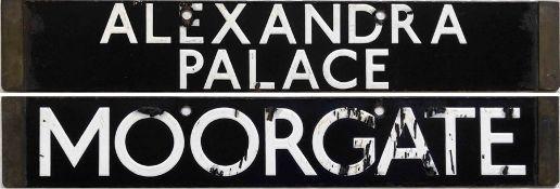 London Underground 1938-Tube Stock enamel CAB DESTINATION PLATE for Alexandra Palace / Moorgate on