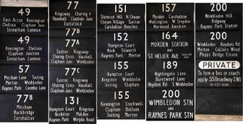 London Transport RT DESTINATION BLIND from Merton (AL) garage dated 25.2.69 and coded 'S' for the