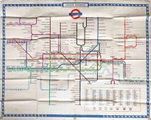 1954 London Underground quad-royal POSTER MAP by H C Beck with print-code date of November 1954.