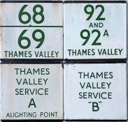 Selection (4) of London Transport bus stop enamel E-PLATES for Thames Valley routes 68/69, 92 & 92A,