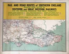 1935 Southern Railway quad-royal POSTER, produced for the SR/GWR, 'Rail & Road Routes of Southern