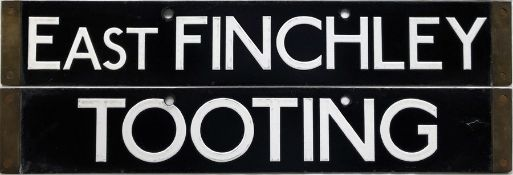 London Underground 38-Tube Stock enamel CAB DESTINATION PLATE for East Finchley / Tooting on the