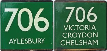 Pair of London Transport coach stop enamel E-PLATES for Green Line route 706, one for each direction