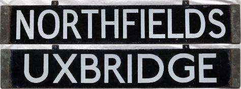London Underground Standard Tube Stock enamel CAB DESTINATION PLATE for Northfields/Uxbridge on