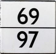 London Transport bus stop enamel E-PLATE for routes 69/97. We think this was probably one of the