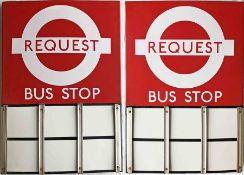 London Transport enamel BUS STOP FLAG (Request). An E6-size, double-sided 'boat'-type flag of the