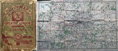 1902 'District [Railway] MAP of Greater London & Environs', 1st edition. Shows the first tube