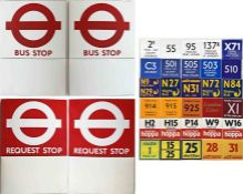 Pair of London Transport enamel BUS STOP FLAGS (Compulsory and Request). E6-size, double-sided '