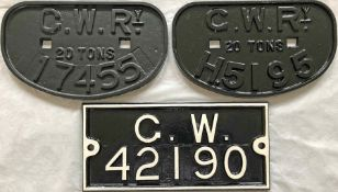 Selection (3) of cast-iron Great Western Railway (GWR) WAGON PLATES: 20 ton 17455 and H5195 (hired