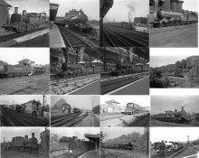 Quantity (c70) of 1940s/50s b&w STEAM RAILWAY NEGATIVES (120-sizes) taken by the railway