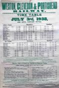 1938 Weston, Clevedon & Portishead Railway double-crown POSTER 'Time Table commencing July 3rd, 1938