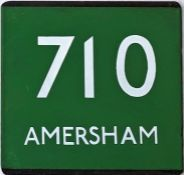 London Transport coach stop enamel E-PLATE for route 710 destinated Amersham. Location unknown but