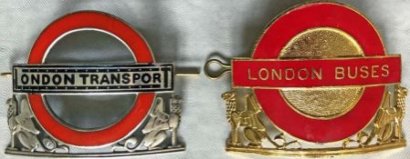Pair of London Transport inspectors' CAP BADGES comprising 1933 hallmarked-silver Trams &
