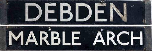 London Underground Standard Tube Stock enamel CAB DESTINATION PLATE Debden / Marble Arch from the
