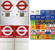 Pair of London Transport enamel BUS STOP FLAGS (Compulsory and Request). E9-size, double-sided '