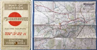 1913 London Underground POCKET MAP 'What to See & How to See it. Stations everywhere'. This is the