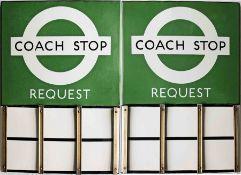 London Transport enamel COACH STOP FLAG (Request). A 1950s/60s 'bullseye'-style, E6-size, double-