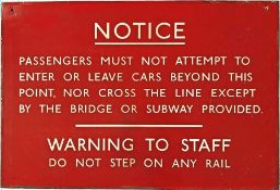 1940s/50s London Underground enamel WARNING NOTICE to passengers and staff. These signs were once
