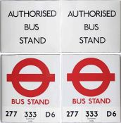 Pair of unusual London Transport BUS STOP FLAGS, both for use at Bus Stands where buses laid over