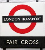 1950s/60s London Transport enamel BUS STOP SIGN 'Fair Cross' from a 'Keston' wooden bus shelter at